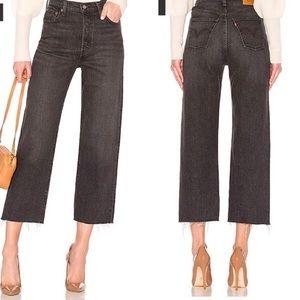 Levi's Ribcage size 28 Cropped Frayed Hem Jeans
